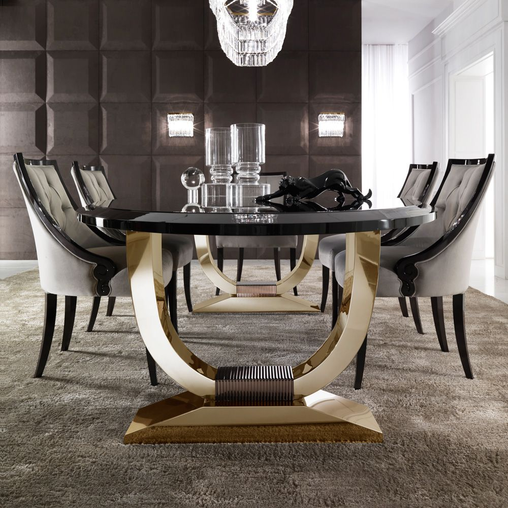 126 Custom Luxury Dining Room Interior Designs: Italian Black Lacquered Gold Oval Dining Set