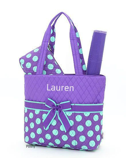 Personalized Diaper Bag In Purple Color Polka Dot 3 Piece 30 00 Via Etsy