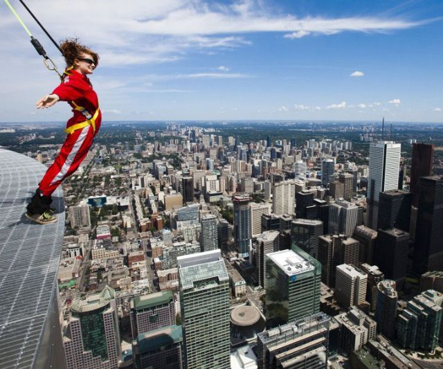 They say walking is great exercise. And, what better place to do it than 1,168 feet above the ground? Enjoy a nice stroll around the ring of the CN Tower. Best case scenario, it's fun. Worst case, you fall over 100 stories to your probable (you're
