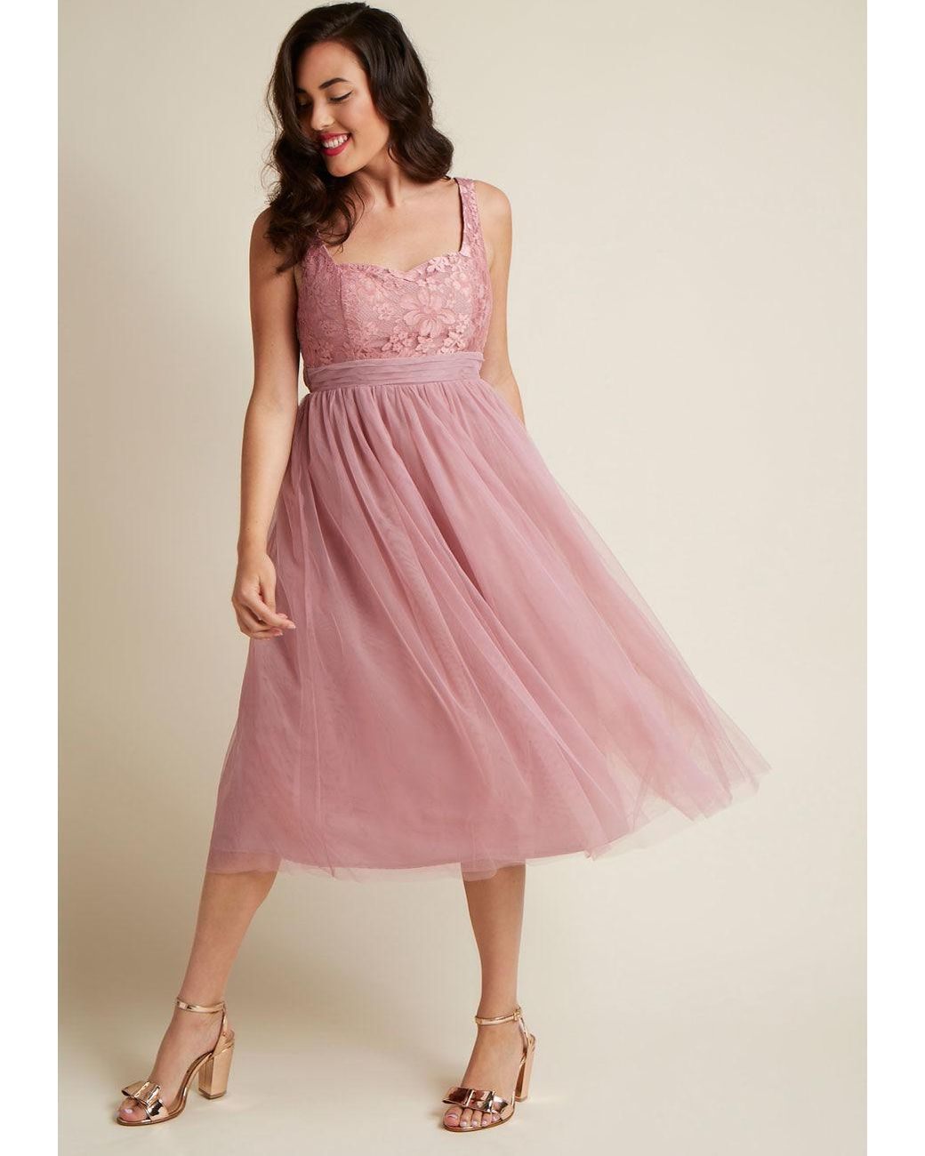 Modcloth pink graceful greatness fit and flare dress in mauve