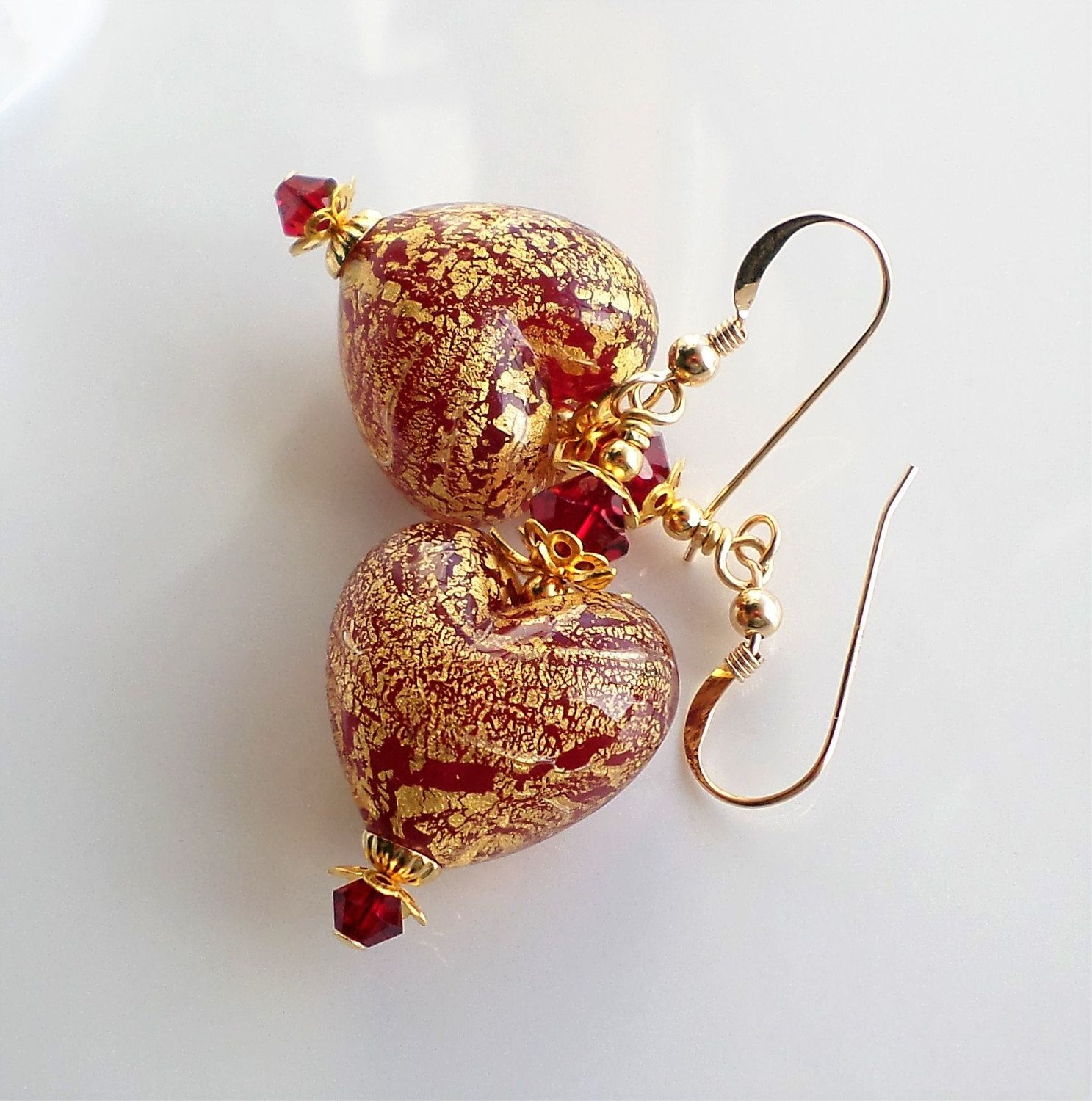 Large Red Heart Murano Venetian Gold Foil Glass Earrings, Red Venetian Heart  Earrings, 24kt Gold Foil Murano Glass Heart Drop Earrings