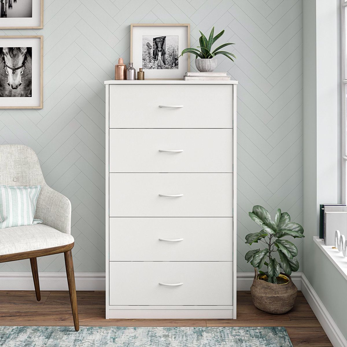 Mainstays Classic 5 Drawer Dresser White Finish Walmart Com Dresser Decor Bedroom White Dresser Decor Room Ideas Bedroom [ 1200 x 1200 Pixel ]