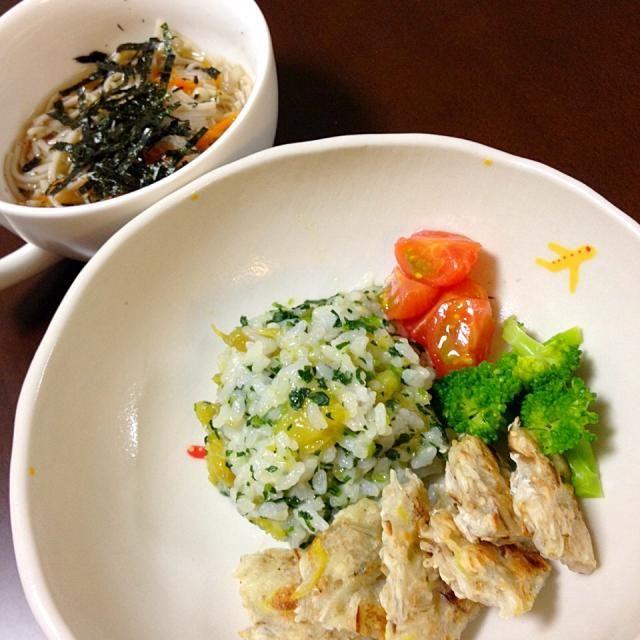お芋とほうれん草のごはん しらすとネギのお好み焼き風 野菜たっぷりお蕎麦 。。。むすこ 1歳8ヶ月 - 3件のもぐもぐ - 4月2日 むすこ ごはん。 by きみどり