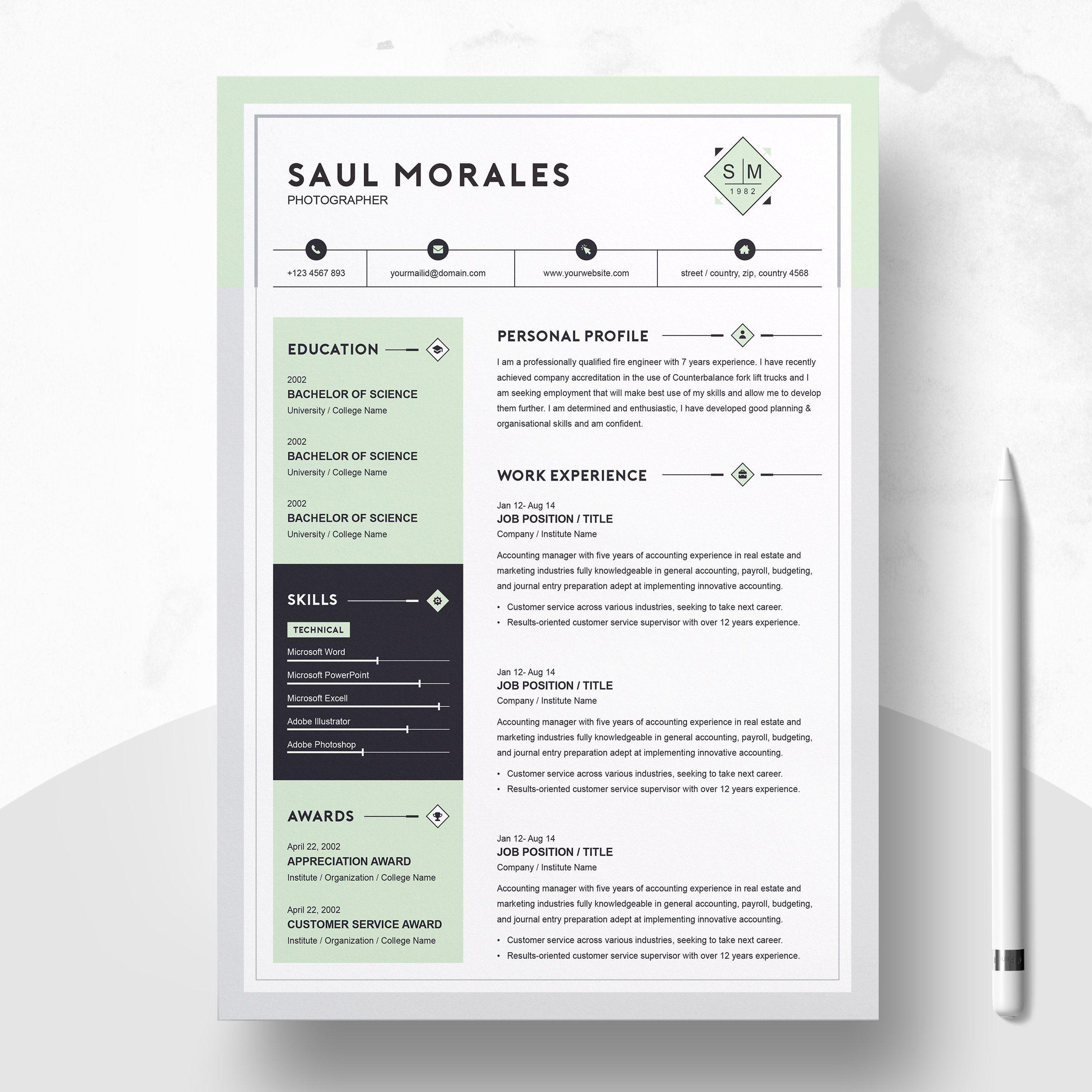Resume Template 3 Page Cv Template Resume Design Template Resume Design Creative Resume Templates
