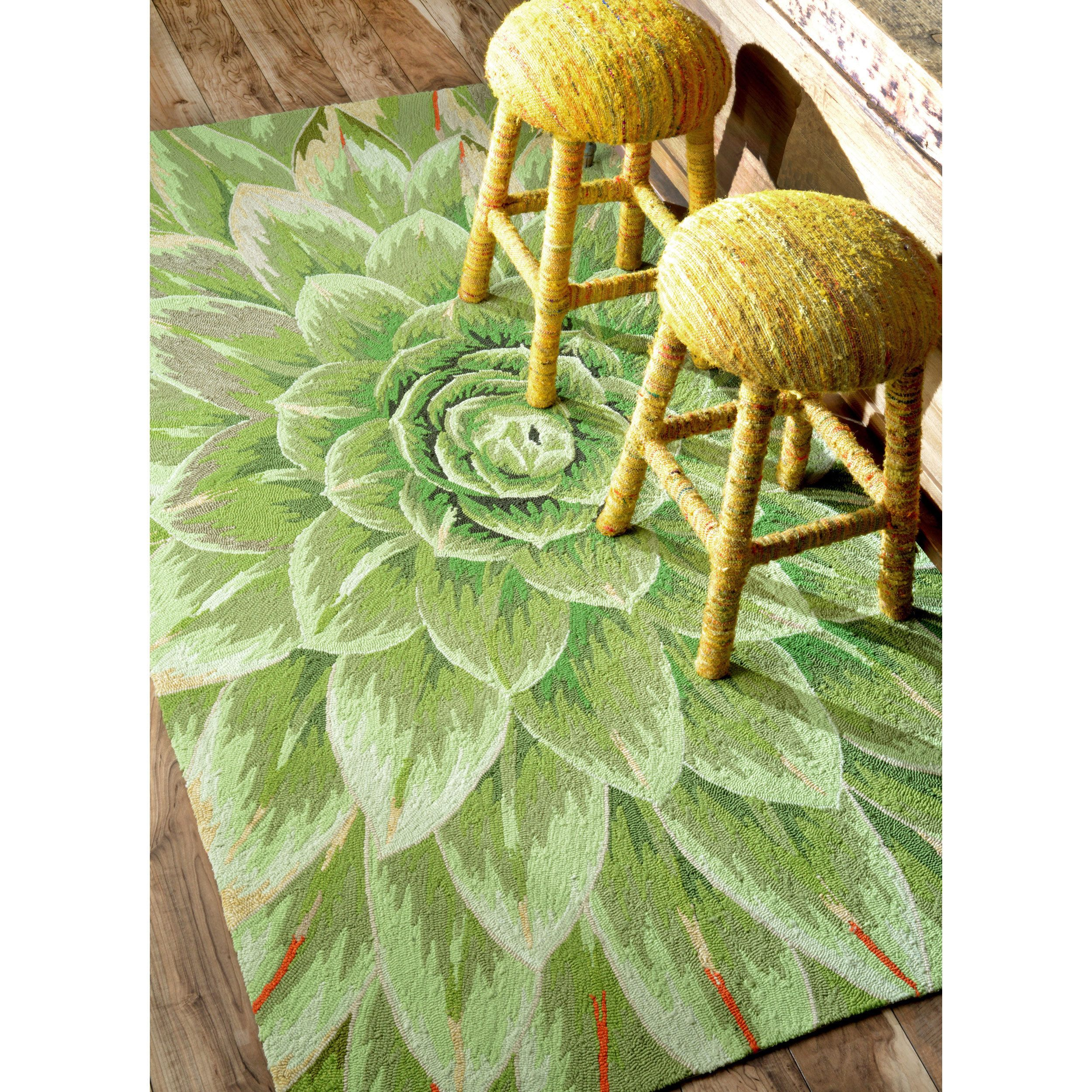 Nuloom Handmade Bold Abstract Floral Green Kitchen Rug 7 6 X 9 6 By Nuloom
