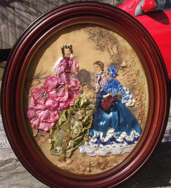 Ribbon stumpwork embroidery of victorian ladies fashion