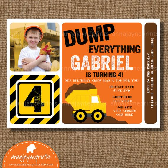 In The Dirt Boys Construction Party – Boys Party Invitations