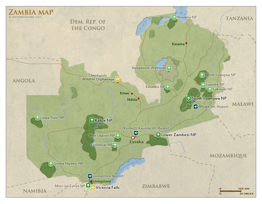 Map of Zambia with national parks and #highlights for #safaris ...