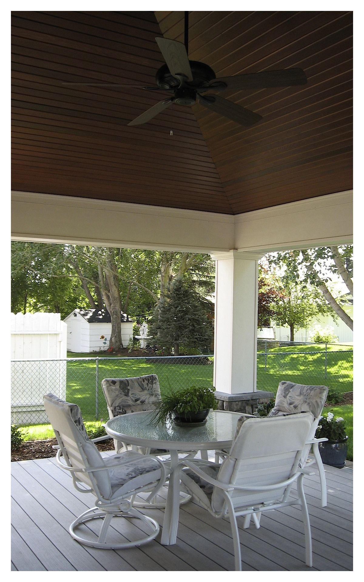Covered Deck with a Vaulted Ceiling Great use of clear tongue