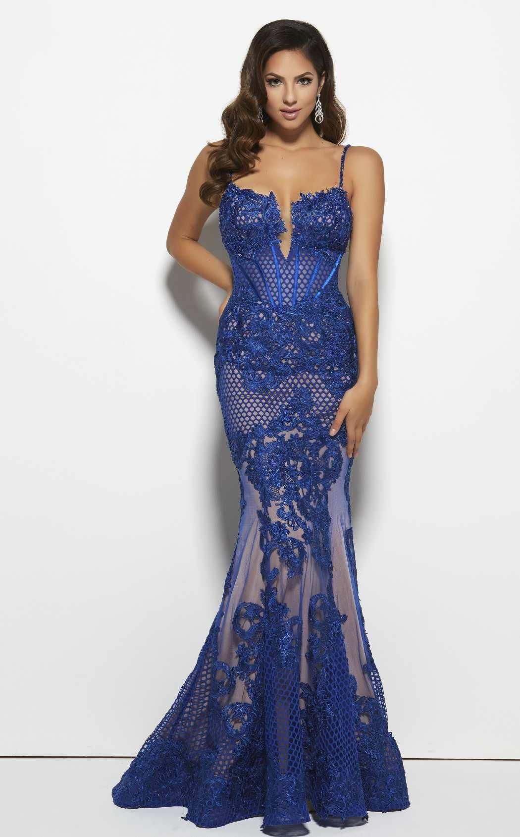 e276ee10d22 ... glamorous dress from the Black White Red collection. Make him stare in  this sumptuous evening gown by Mac Duggal 78999R. Thin spaghetti straps  lead to ...