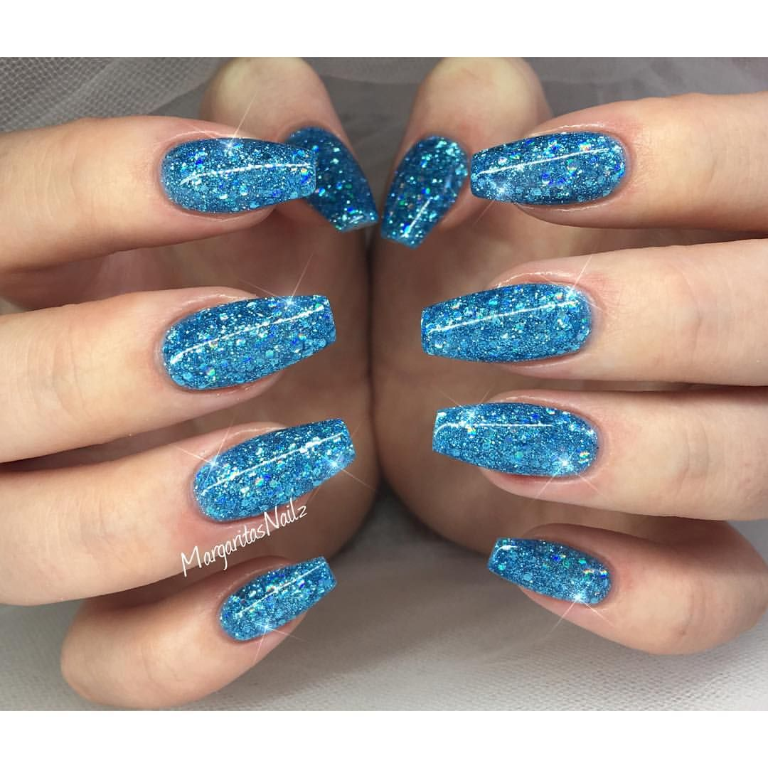 blue glitter nails margaritasnailz pinterest