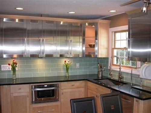 Backsplash In Loft Spa Green Frosted Tile Contemporary Kitchen
