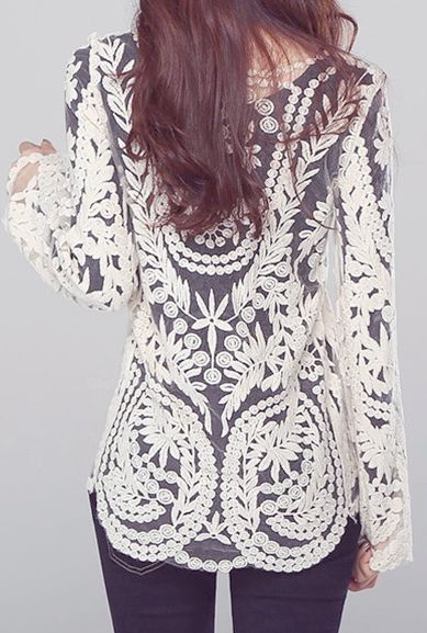 4e2489cec3e4d0 Women s Semi Sexy Sheer Long Sleeves Embroidery Floral Lace Crochet Top  Blouse Tee