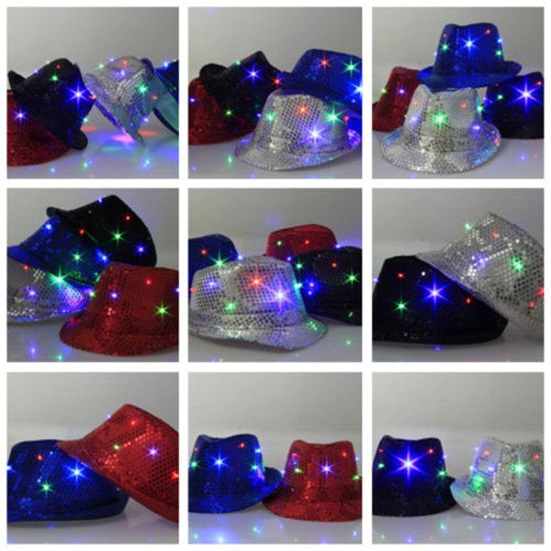 40cc7dee271 Wholesale Led Light Up Blinking Flashing Sequin Jazz Cap Party Hat Chrismas