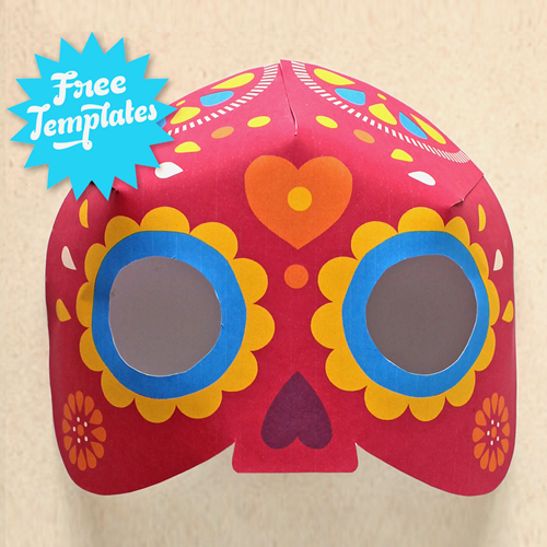 day of the dead skull mask template - printable 3d calavera mask craft watch video tutorial