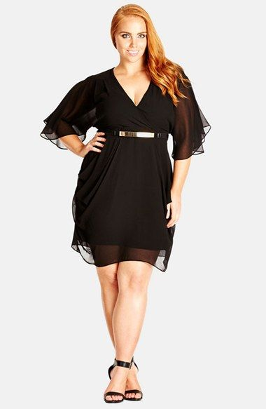 Black plus size wrap dress