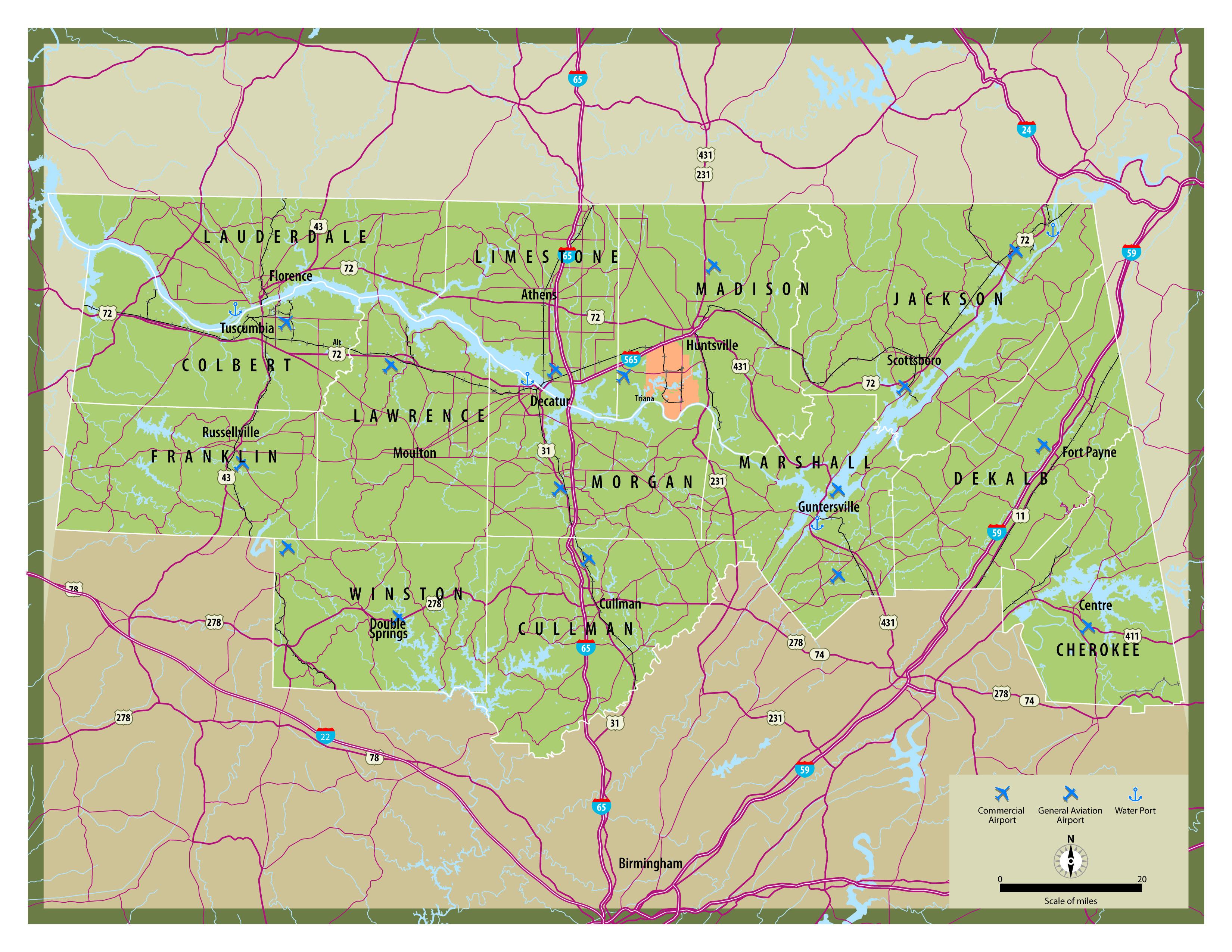 Map Of North Alabama North Alabama   NAIDA Highway Map | North Alabama | Highway map
