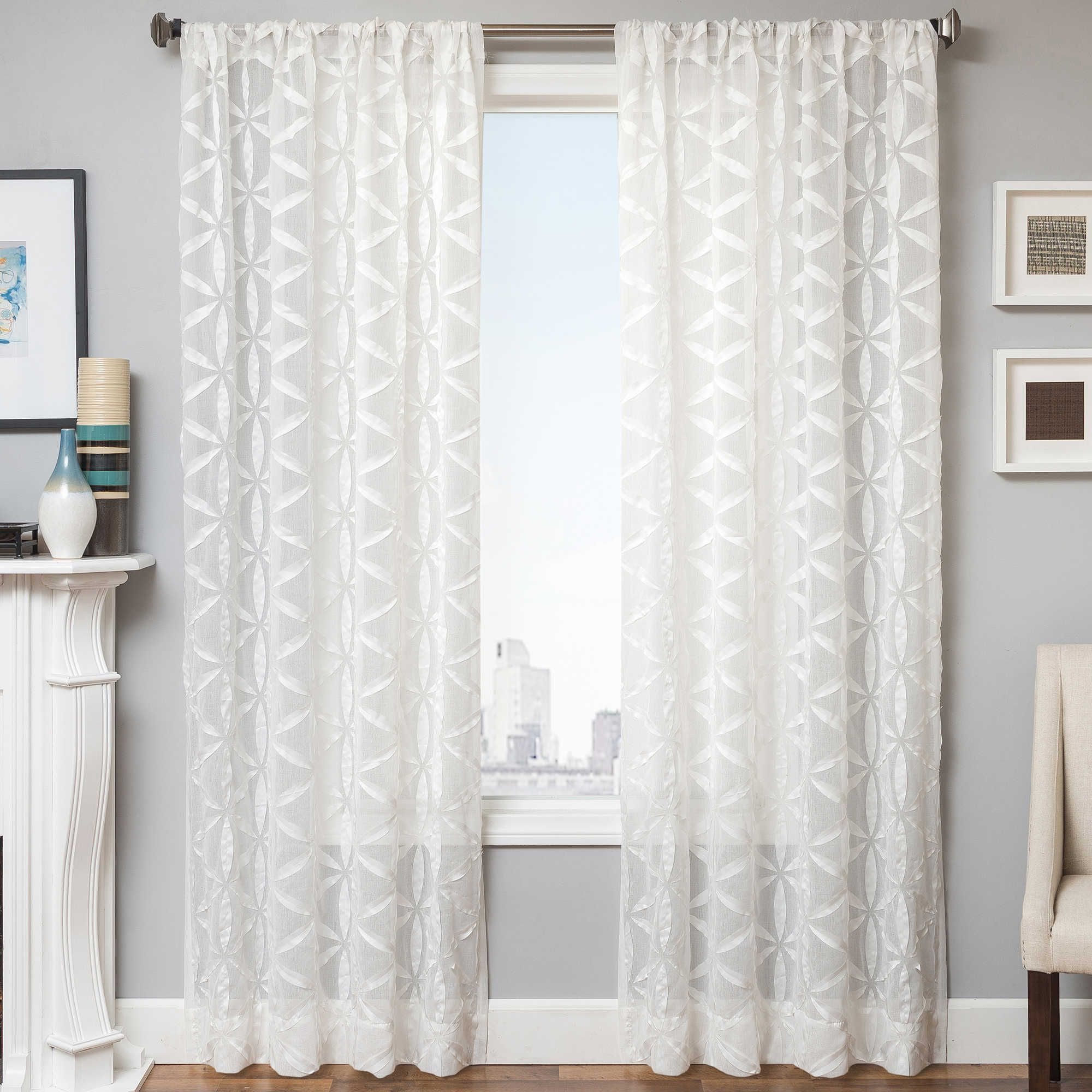 Celestia 96 Inch Window Curtain Panel In Natural Panel Curtains