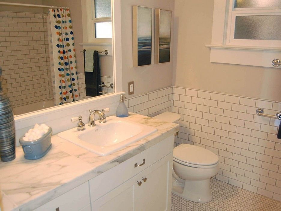 charming subway tile wainscoting bathroom with white 11727
