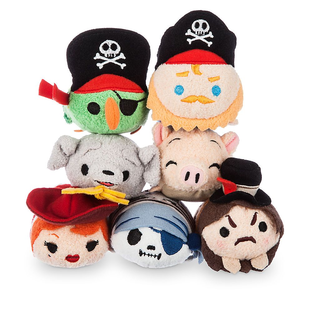 Pirates of the Caribbean Tsum Tsum Collection - Parrot, Pirate Captain, Jailer Dog, Pig, Redhead, Skeleton, Pirate