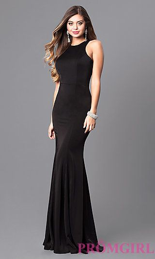 4a69ea9add Sleek High-Neck Jersey Long Prom Dress with Racerback at PromGirl.com