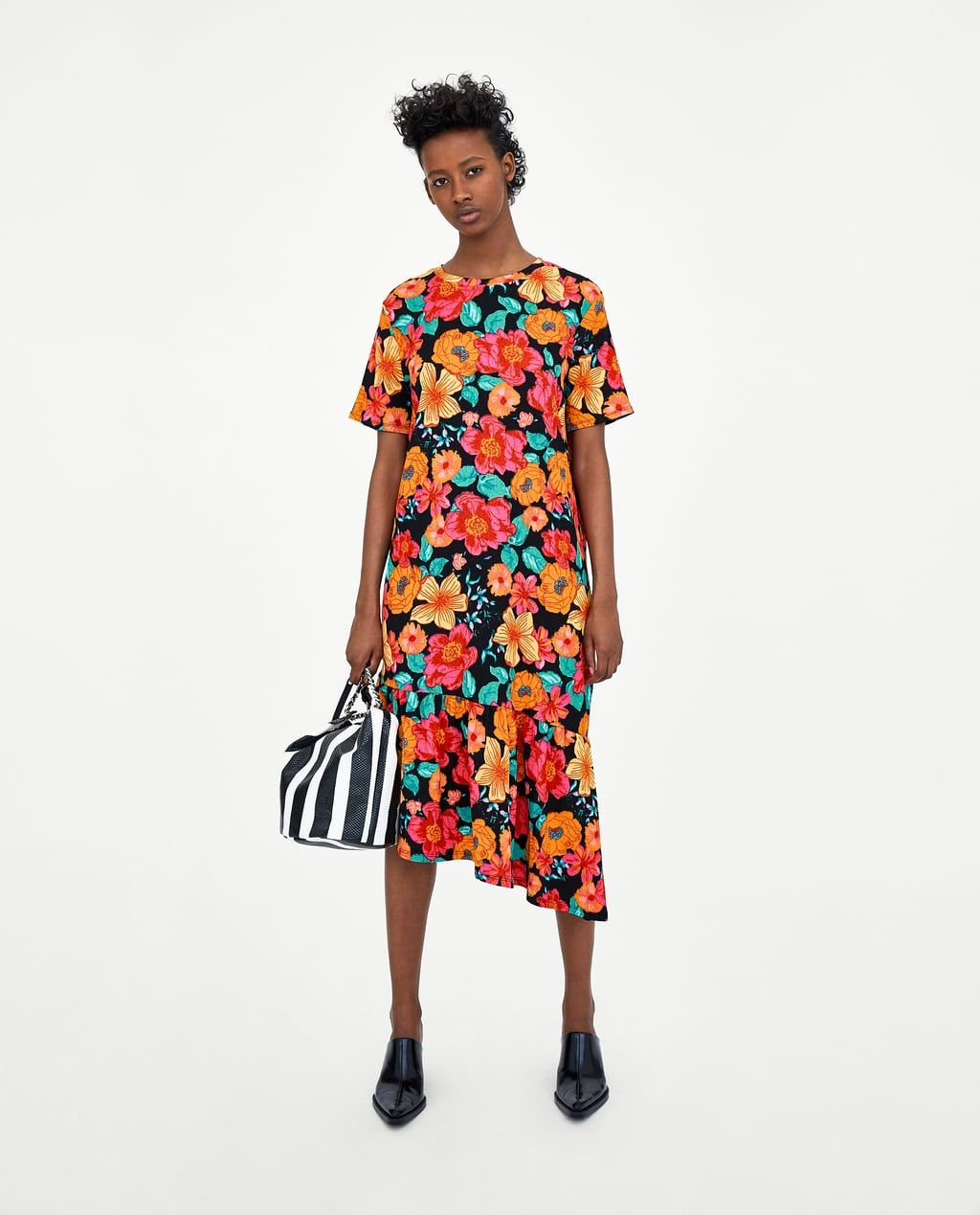 2ad82688 Image 1 of TEXTURED DRESS WITH RUFFLED HEM from Zara Short Sleeve Dresses,  Dresses With
