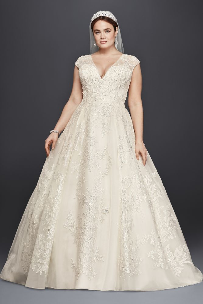 Tulle oleg cassini plus size ball gown wedding dress for Wedding dress designer oleg cassini
