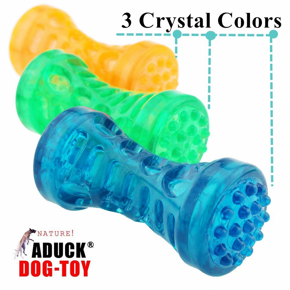 Aduck Durable Dog Squeaky Bone Chew Toys Dumbbell Series Bite