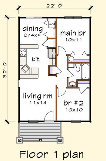 Floorplan Image For Plan 0701a Cottage Floor Plans House Plans Small House Plans