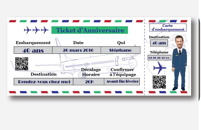 Invitation anniversaire homme billet d 39 avion a - Modele billet avion a imprimer ...