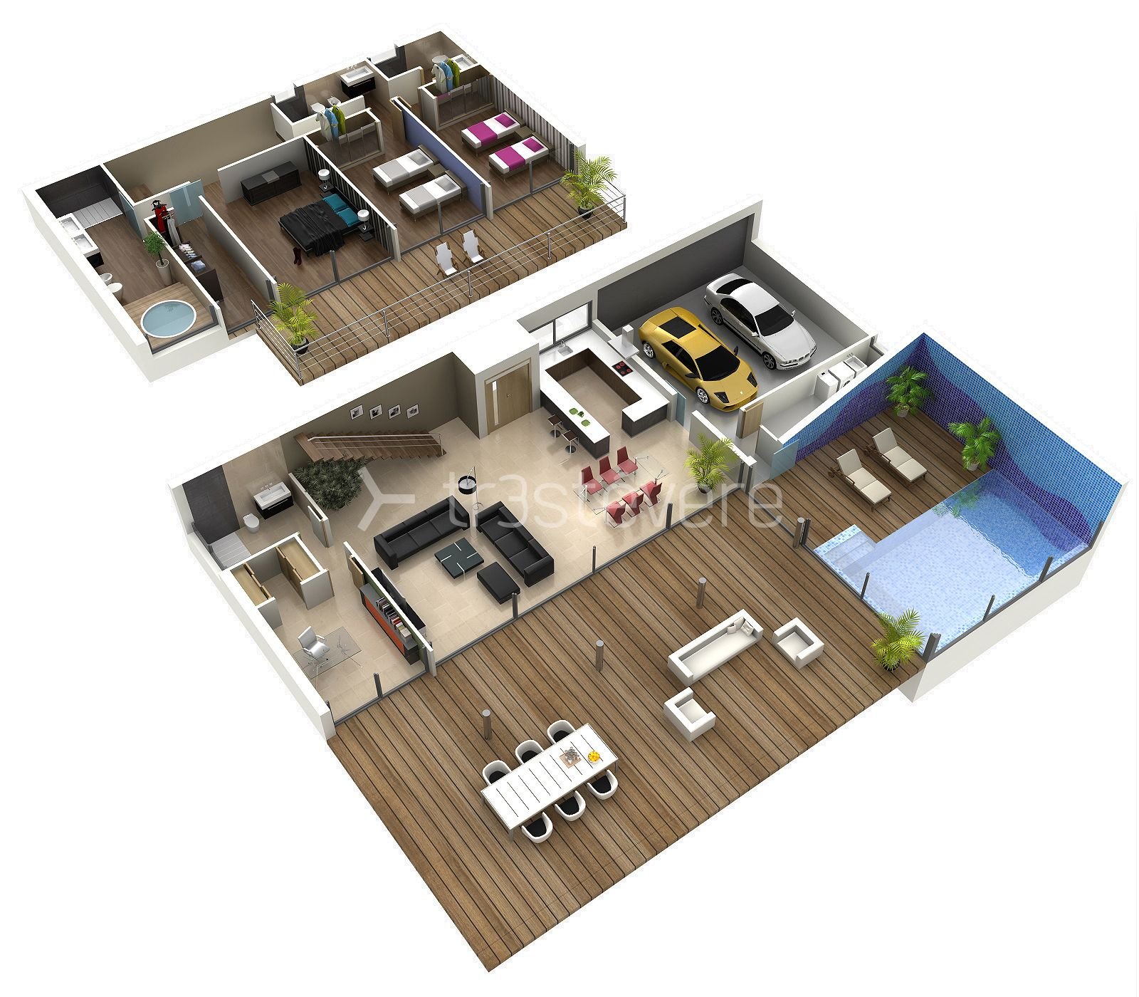 Plano 3d 02 02 floorplan pinterest 3d house and condos for Planos 3d