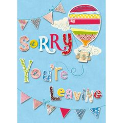 Sorry You Re Leaving Card Som001 Leaving Cards Card Design Handmade Good Luck Cards