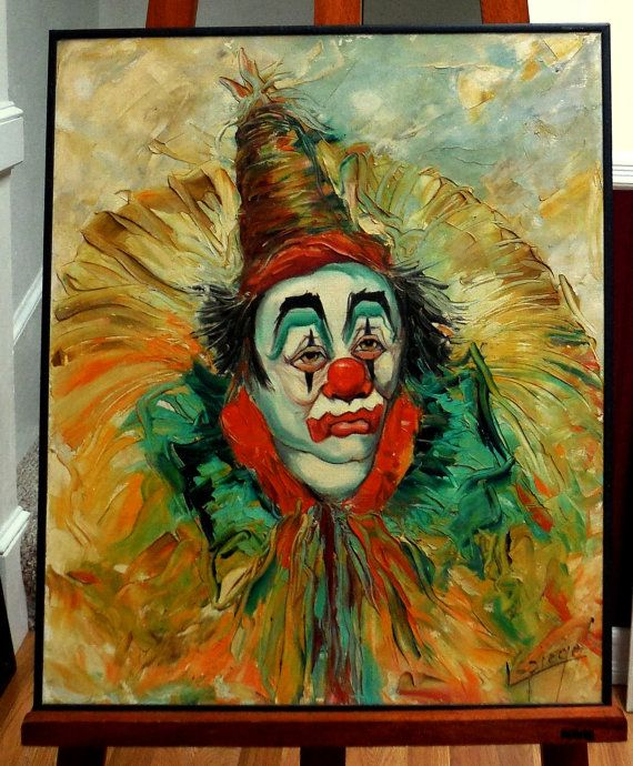 Vintage Clown Painting Signed Lepiege Fabulous Color | Art | Clown