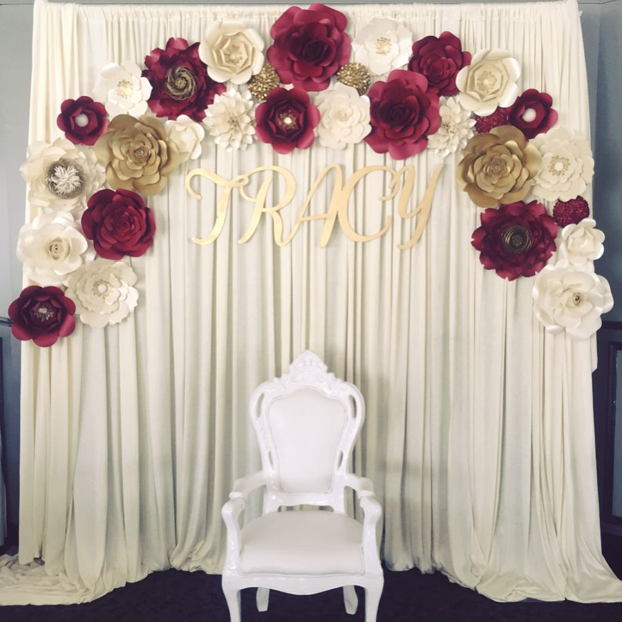 Paper flower backdrop burgundy and gold theme engagement party