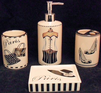 Diva Girly Girl Haute Couture Bathroom 4 Pc.Set Purses High Heels