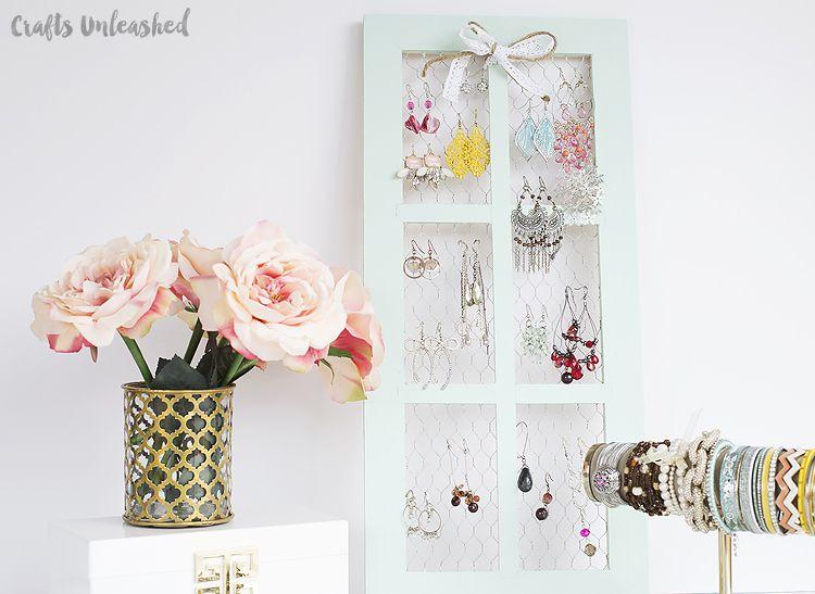 DIY Jewelry Holder with Chicken Wire Window Frame Jewellery holder