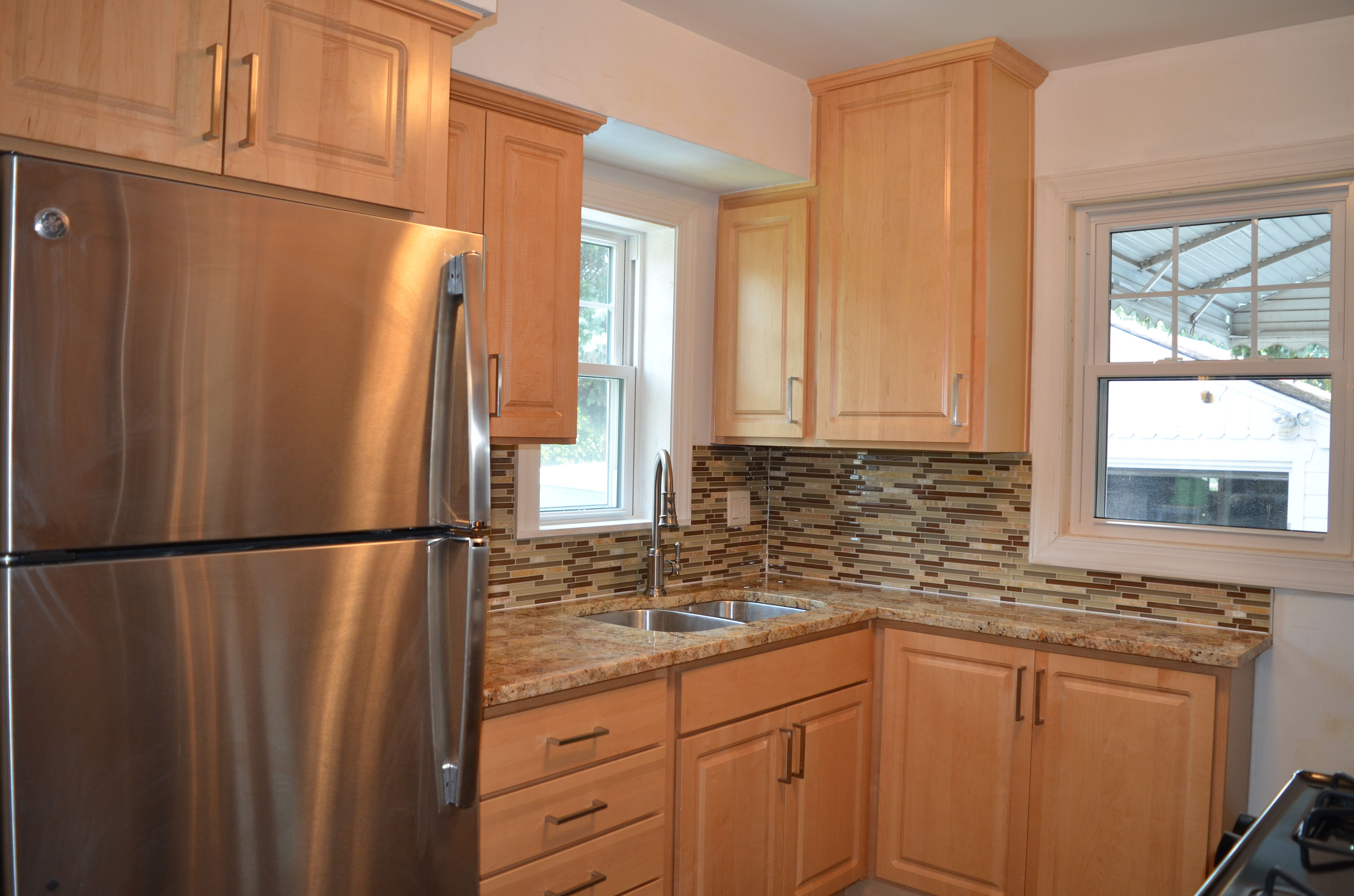 Kitchen remodel with natural maple cabinets, granite ... on Maple Cabinets With Backsplash  id=61275