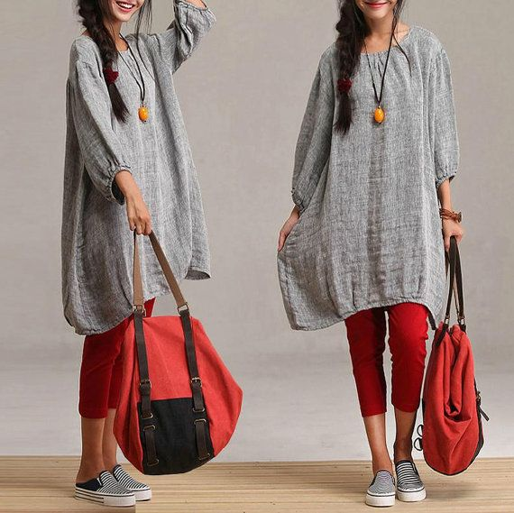 Sleeve casual gray linen gown models / loose round neck dress