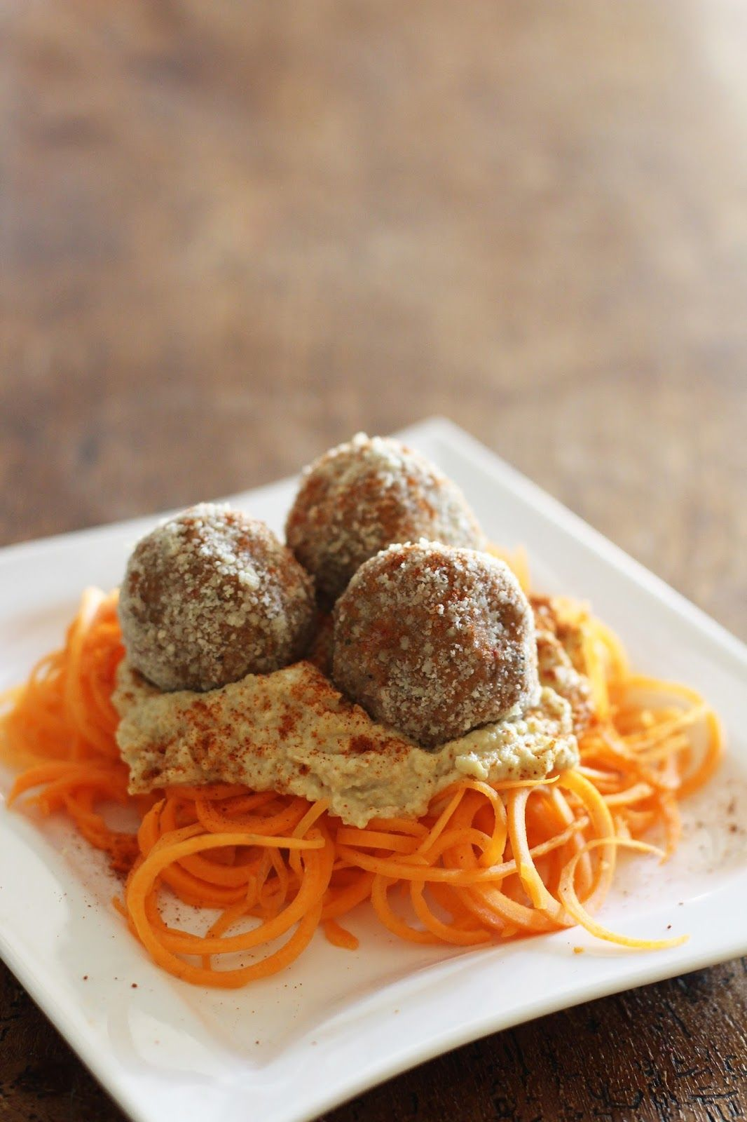 raw mushroom walnut meatballs with hummus and carrot