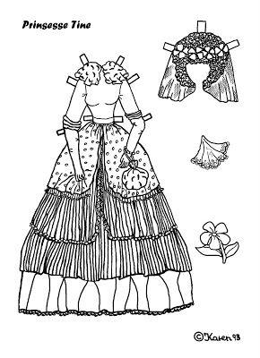 Karen`s Paper Dolls: Tine 1-4 Princess Paper Doll to Print and Colour. Tine 1-4 Prinsesse påklædningsdukke til at printe og farvelægge.
