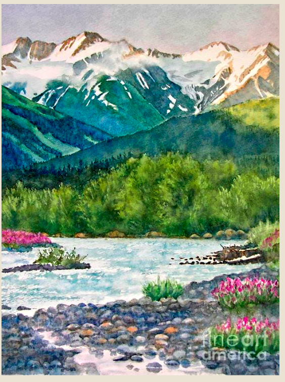 River And Mountains Watercolor Scenery Watercolor Landscape Landscape Paintings