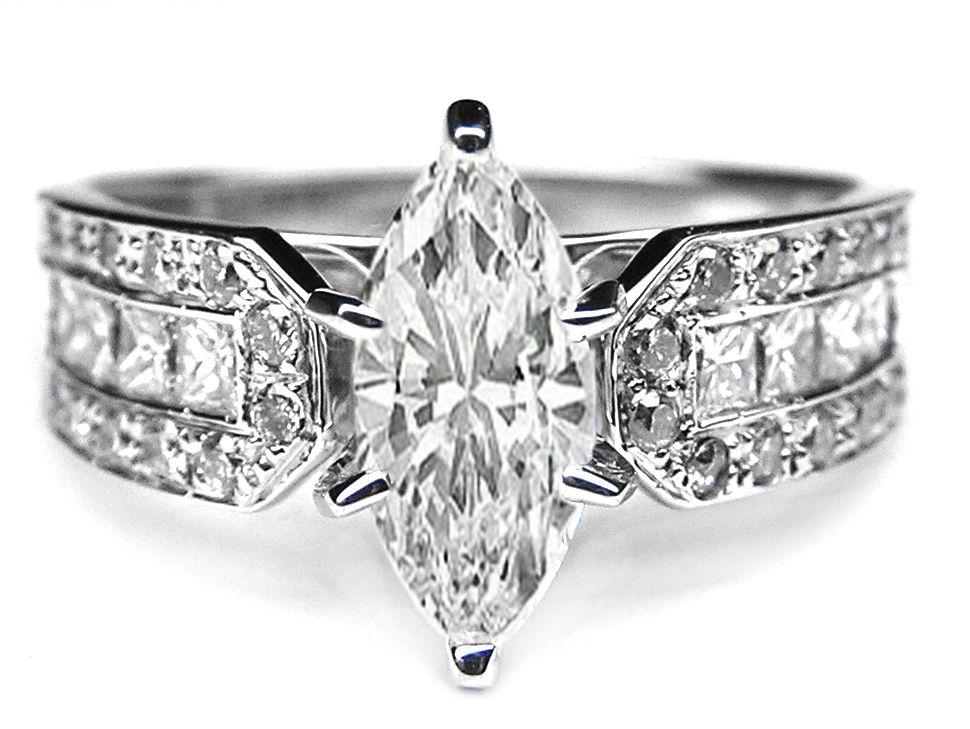 vintage engagement rings - Marquise Diamond Wedding Ring