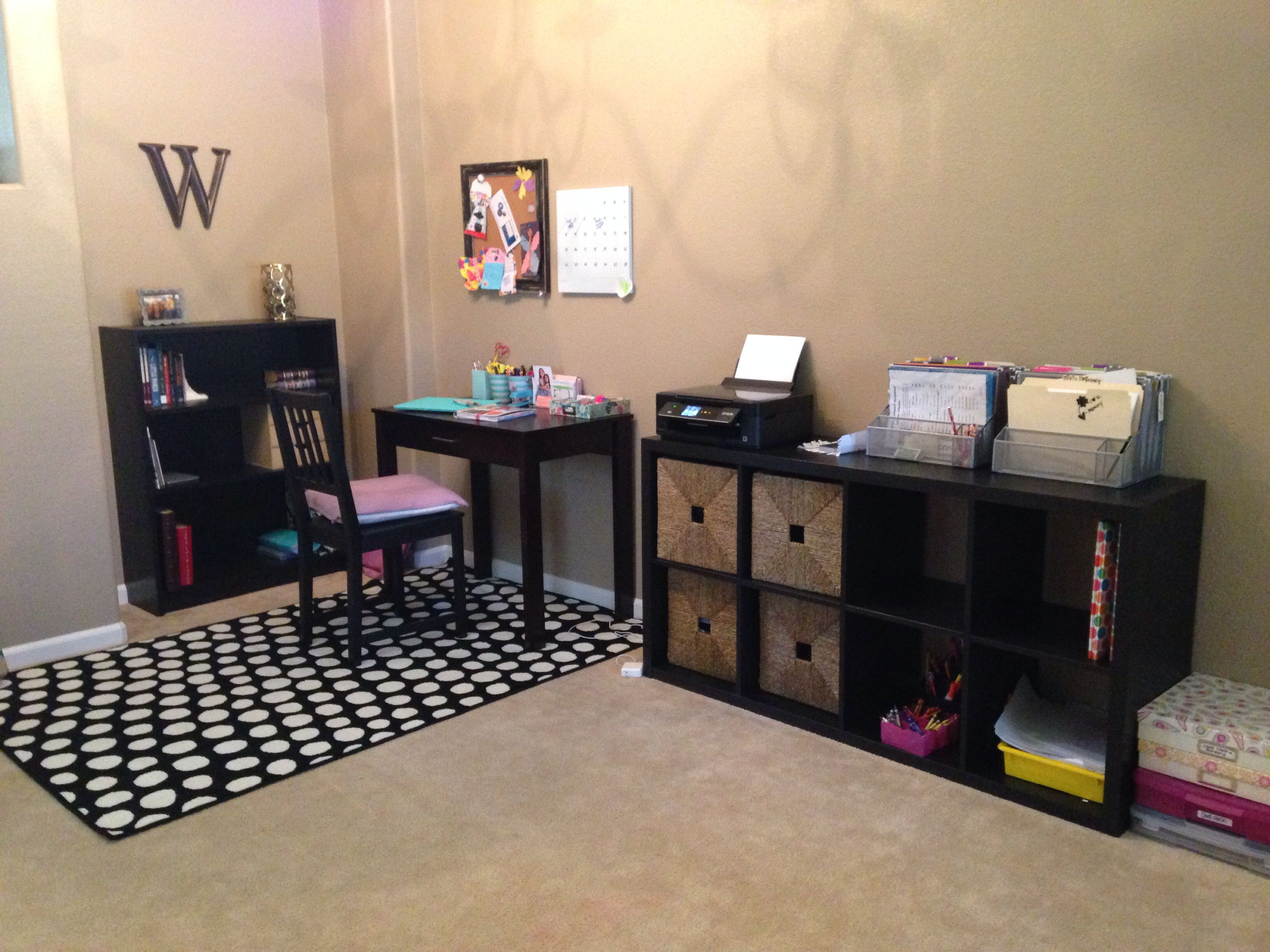 Small Office Space In The Formal Dining Area Kids Play Next To It Living Room Ikea Kallax Bookcase Black Brown And Desk