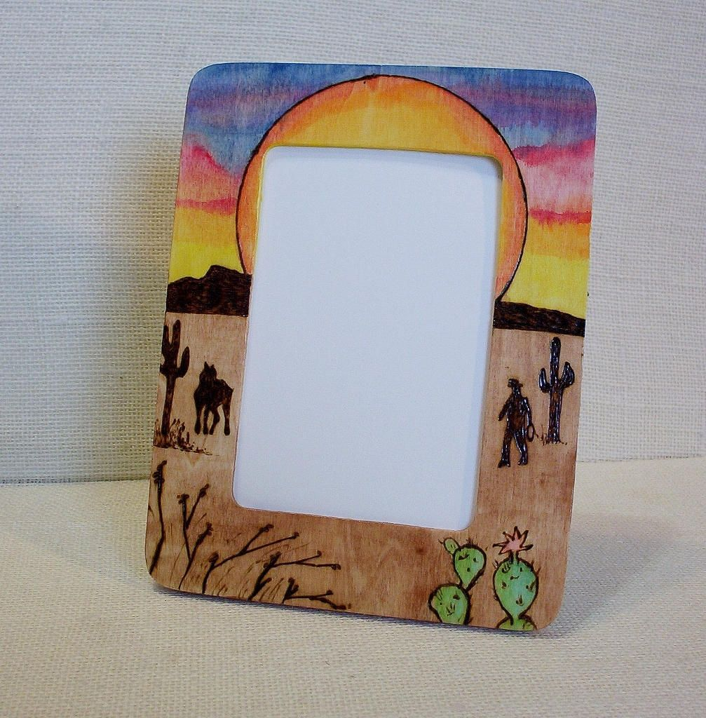 Photo picture frame cowboy horse sunset 6x8 in pyrography photo picture frame cowboy horse sunset 6x8 in pyrography woodburning 4x6 in photo space jeuxipadfo Image collections