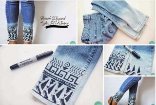 Jeans eerst bleken ; daarna fries tekenen met textielstift