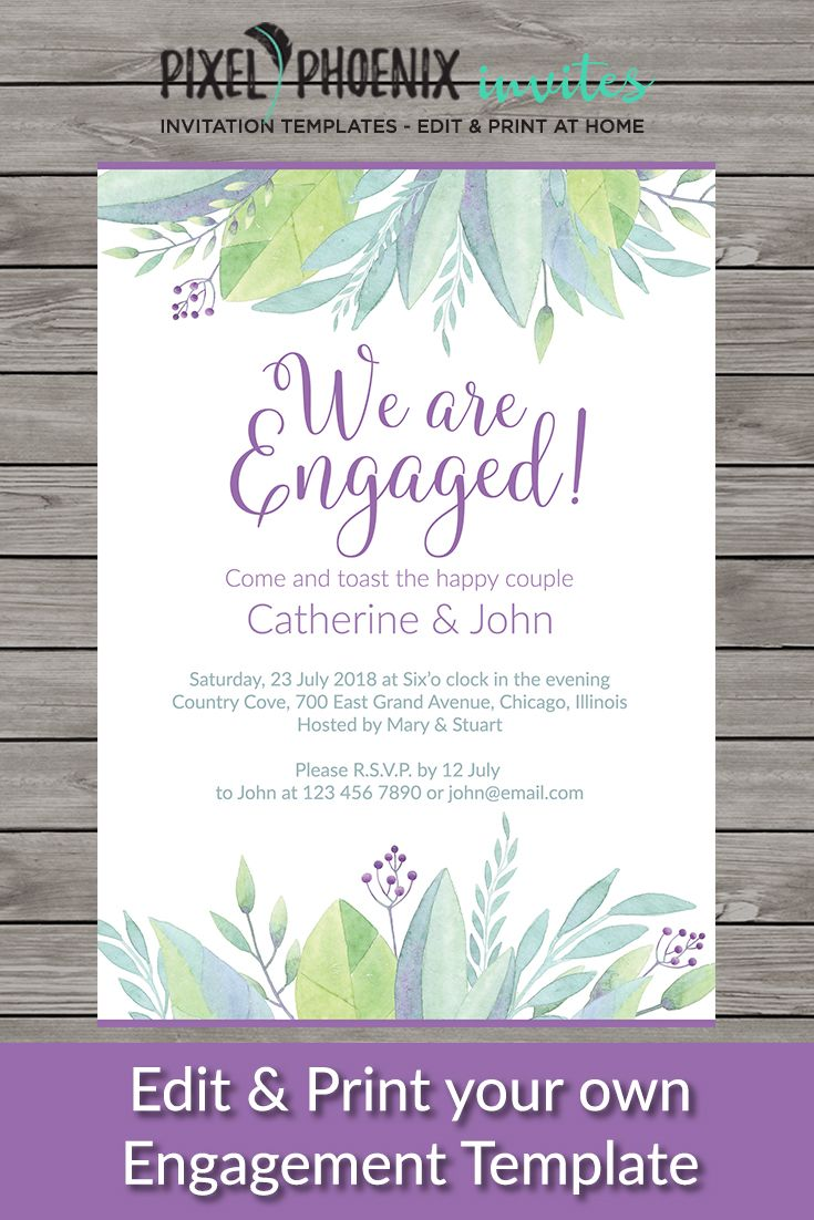 we are engaged watercolour invite watercolor invite painted