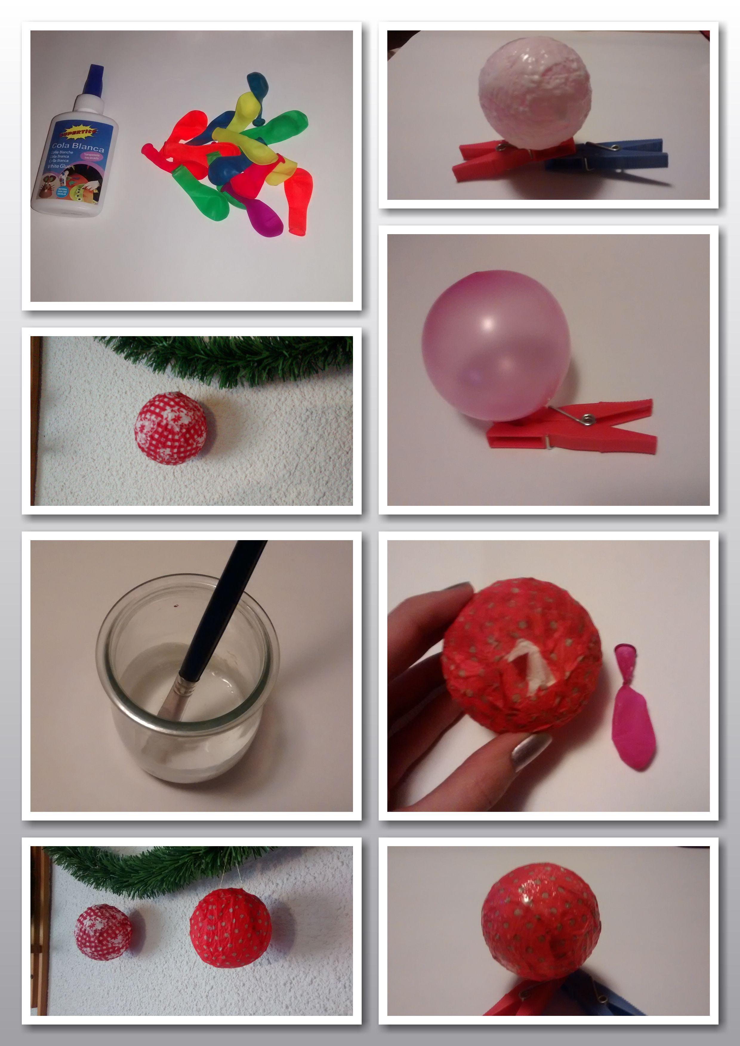 Bolas De Navidad Hechas Con Globos Papel Y Cola De Manualidades Bolas De Navidad Manualidades Manualidades Navidenas