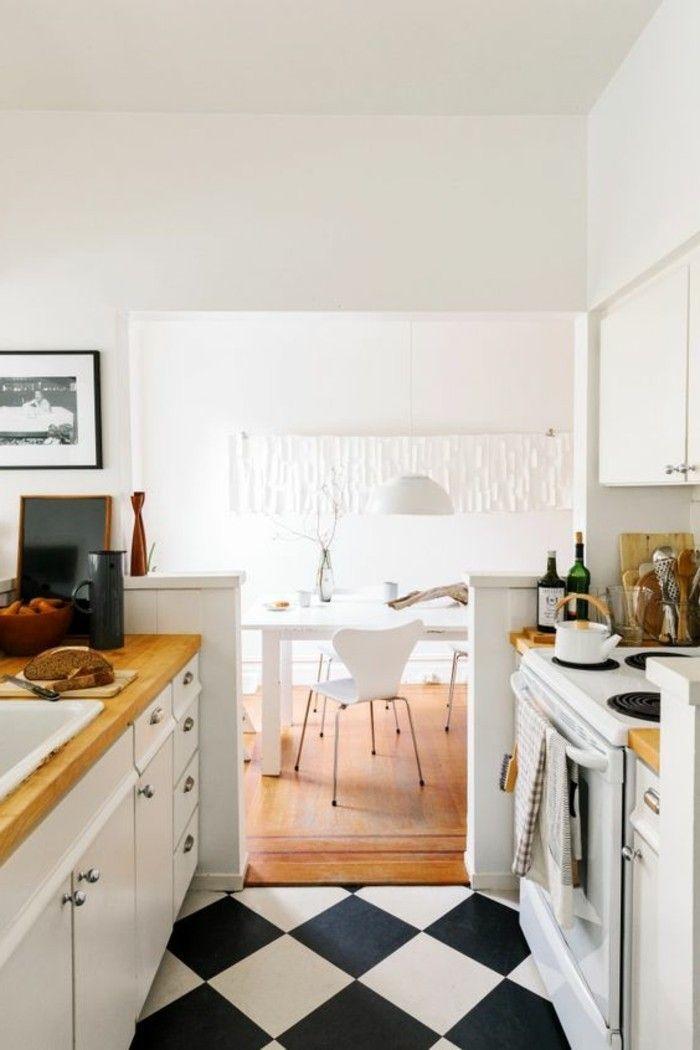 Carrelage Damier Noir Et Blanc Et Plancher De Bois Comptoirs De Bois Nouvelle Cuisine Cuisine Moderne Plan Petite Maison