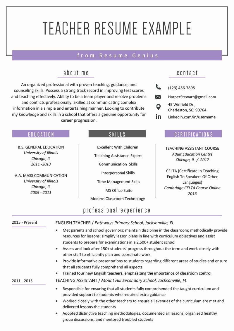 Resume Template for Teachers Unique Teacher Resume Samples