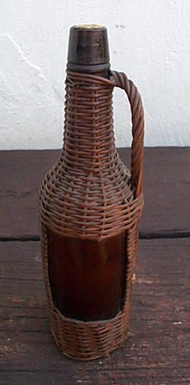 Wicker Covered Bottle, probably for wine